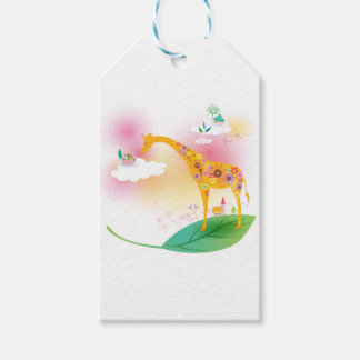 Fantasy giraffe stand on leaf over the sky gift tags