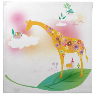 Fantasy giraffe stand on leaf over the sky napkin