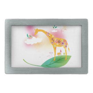 Fantasy giraffe stand on leaf over the sky rectangular belt buckle