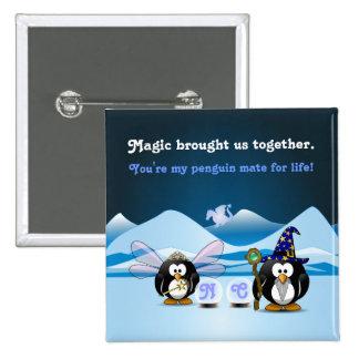 Fantasy Glacier Penguins Wizard Fairy Crystal Ball 15 Cm Square Badge
