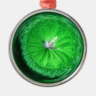Fantasy glass orb in green. Silver-Colored round decoration