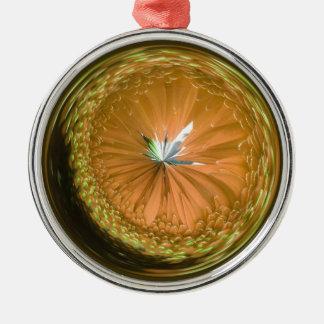 fantasy glass orb in orange christmas ornament