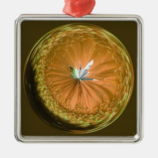 fantasy glass orb in orange Silver-Colored square decoration