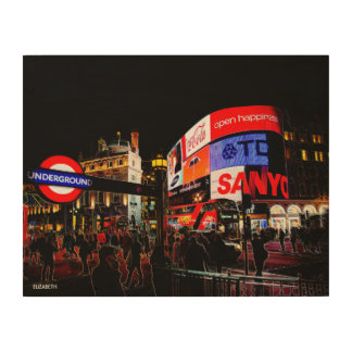 Fantasy Glowing Piccadilly In London At Night Wood Print
