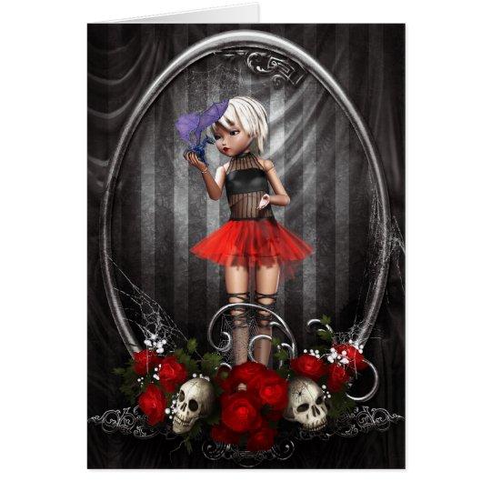 fantasy goth doll girl greeting card