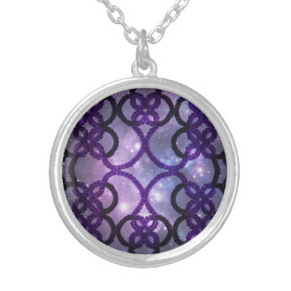 Fantasy Goth Purple Tatting Lace Night Sky Silver Plated Necklace