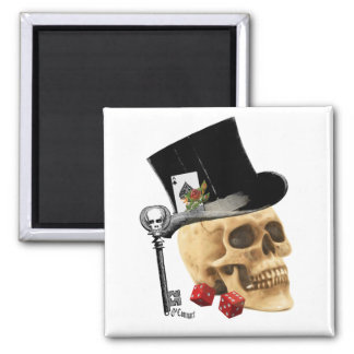 Fantasy Gothic gambler skull tattoo design Magnet