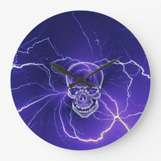 Fantasy Gothic Skull Bone Lightning Blue Large Clock