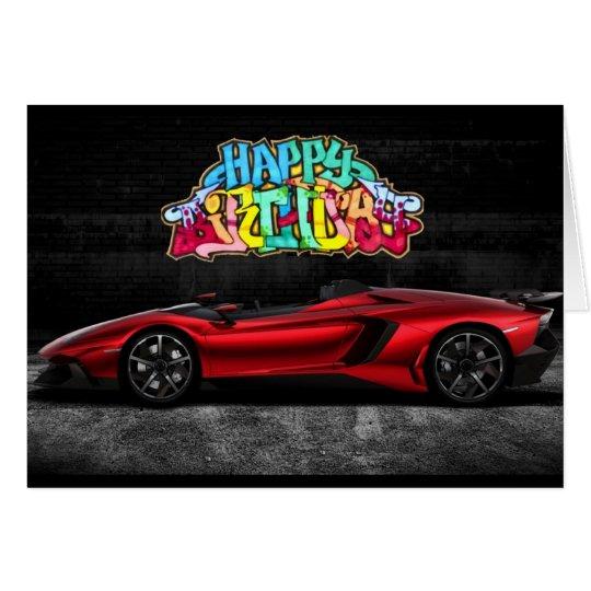 Fantasy Graffiti Dream Car Birthday Card