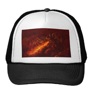 Fantasy Great Red Dragon Breathing Fire Mesh Hats