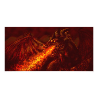 Fantasy Great Red Dragon Breathing Fire Photo Greeting Card