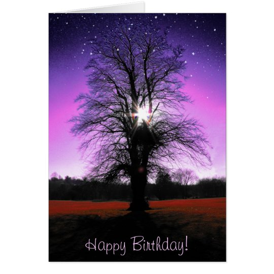 Fantasy Happy Birthday Card with a tree