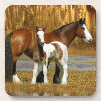 Fantasy Horses: Mare & Foal Beverage Coasters