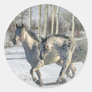 Fantasy Horses Winter Wonderland Round Sticker