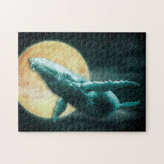 Fantasy Humpback Whale Flying to The Moon - Puzzle