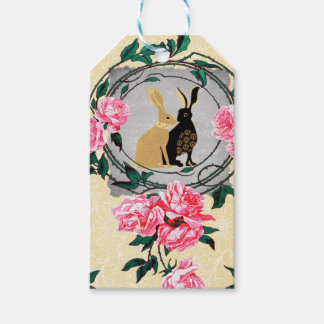 Fantasy Jackrabbit Hares Rose Romantic Collage