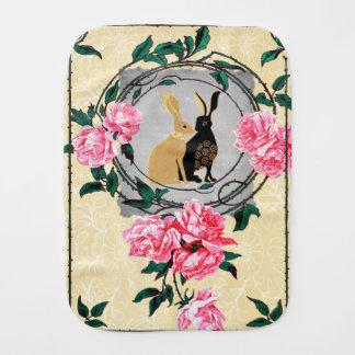 Fantasy Jackrabbit Hares Rose Romantic Collage Burp Cloth