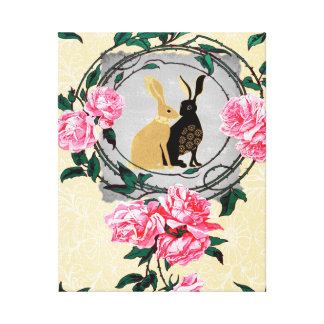 Fantasy Jackrabbit Hares Rose Romantic Collage Canvas Print