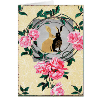 Fantasy Jackrabbit Hares Rose Romantic Collage Card