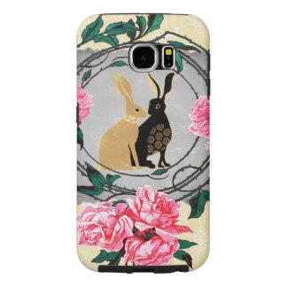 Fantasy Jackrabbit Hares Rose Romantic Collage Samsung Galaxy S6 Cases