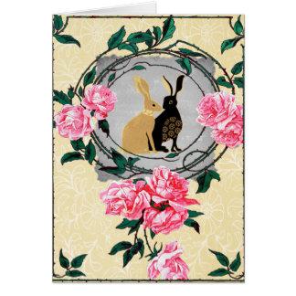 Fantasy Jackrabbit Hares Rose Romantic Collage Note Card