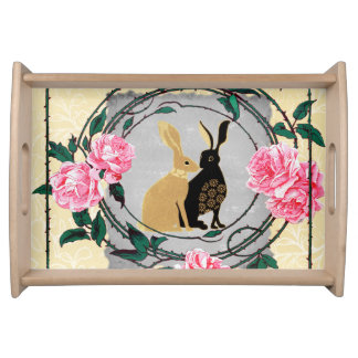 Fantasy Jackrabbit Hares Rose Romantic Collage Serving Tray