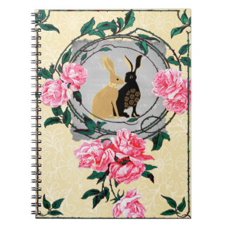 Fantasy Jackrabbit Hares Rose Romantic Collage Spiral Notebook