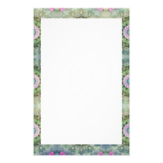 Fantasy Kaleidoscope, Lilac and Green Border Stationery Paper