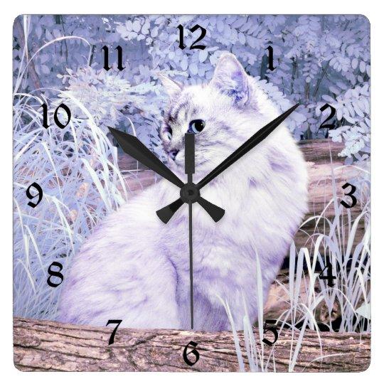 Fantasy kitty cat square wall clock