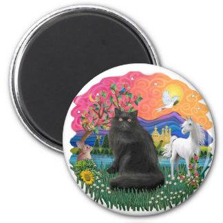 Fantasy Land (ff) - Persian cat (black) 6 Cm Round Magnet