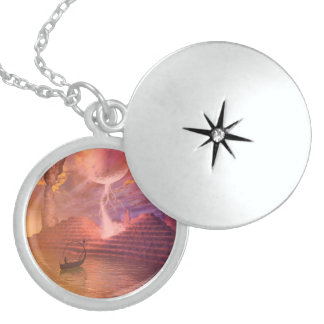 Fantasy landscape with fairy in a boat round locket necklace