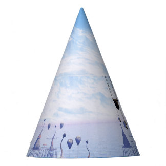 Fantasy landscape with fish house and zeppelin party hat