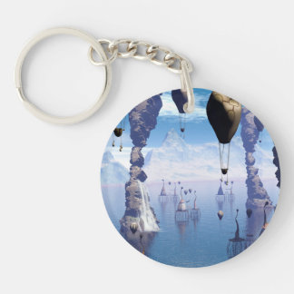 Fantasy landscape with fish house and zeppelin Single-Sided round acrylic key ring