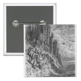 Fantasy landscape with town and castle 15 cm square badge