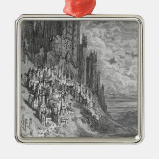 Fantasy landscape with town and castle christmas ornament