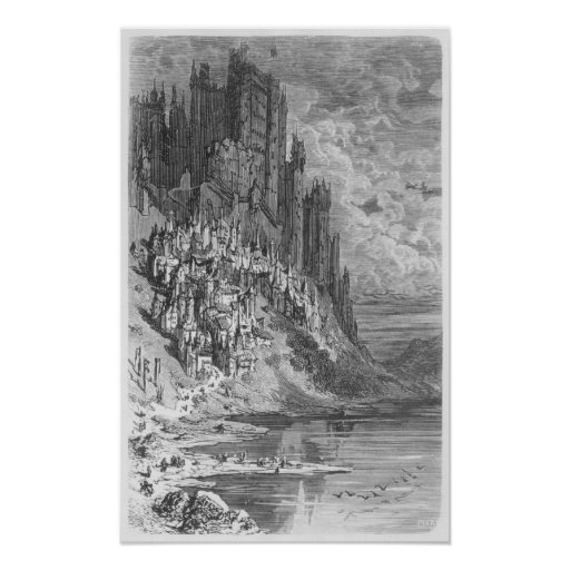 Fantasy landscape with town and castle poster