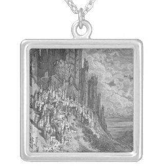 Fantasy landscape with town and castle silver plated necklace