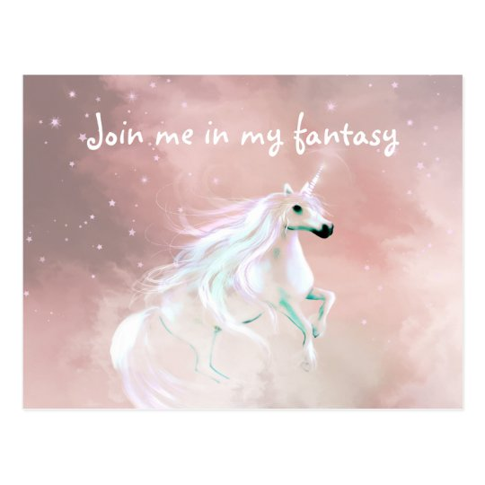 Fantasy loving unicorn postcard
