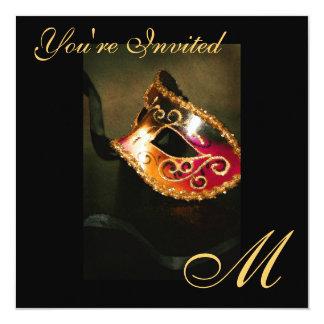"""Fantasy Masquerade Mask Monogram Gold Invitation 5.25"""" Square Invitation Card"""