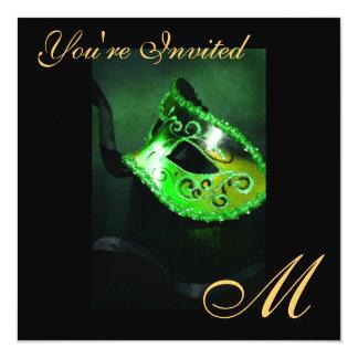 """Fantasy Masquerade Mask Monogram Green Invitation 5.25"""" Square Invitation Card"""
