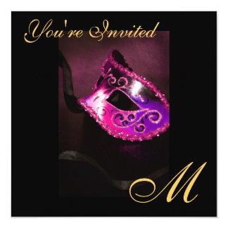 """Fantasy Masquerade Mask Monogram Pink Invitation 5.25"""" Square Invitation Card"""