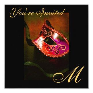 """Fantasy Masquerade Mask Monogram Red Invitation 5.25"""" Square Invitation Card"""