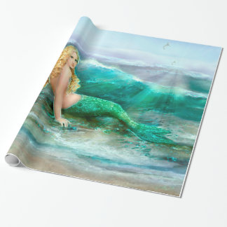 Fantasy Mermaid on Shore of Aqua Blue Sea Wrapping Paper