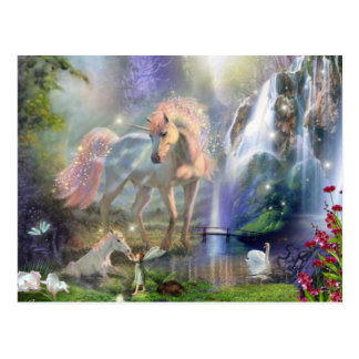 fantasy Mother Unicorn and Baby Postcard