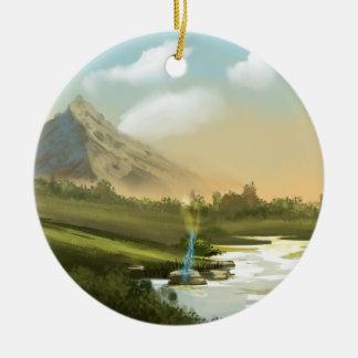 Fantasy mountain sword round ceramic decoration
