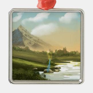 Fantasy mountain sword Silver-Colored square decoration