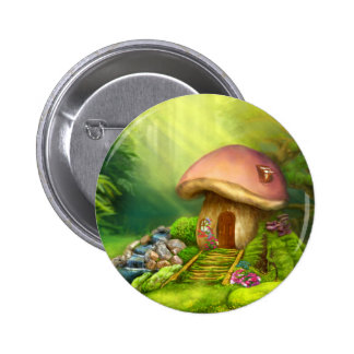 Fantasy mushroom house 6 cm round badge