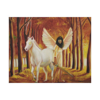 Fantasy Oil Painting w/White Horse & Winged Girl Stretched Canvas Print