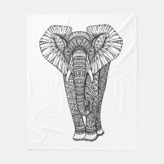 Fantasy Patterned Elephant Doodle Fleece Blanket