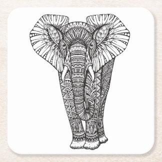 Fantasy Patterned Elephant Doodle Square Paper Coaster